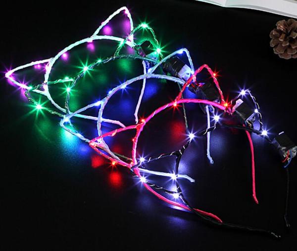 Led tavşan kulak Kedi Kulaklar LED Bantlar Parti Light Up Yanıp Sönen Yanıp Sönen Parti Noel Aksesuarları Giymek Glow Parti Malzemeleri GA494