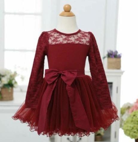 Enfants robe de soirée de Noël Automne Nouvelles filles Bow dentelle manches longues tulle tutu robe enfants robe de princesse vin noir A4810