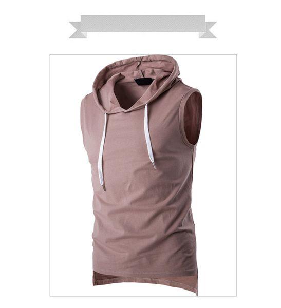 2018 New Summer Mens Solid Sleeveless Sports T Shirt Mens T Shirt Fashion TideHooded Tee Men Bodybuilding Fitness Tops 5-color M-2XL