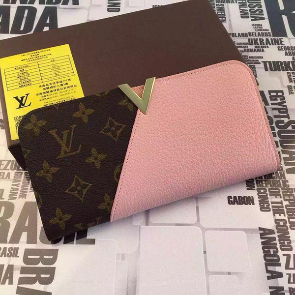 Calfskin Wallet Feminine Kimono Wallet M56176 Pink WALLETS OXIDIZED LEATHER CLUTCHES EVENING LONG CHAIN WALLETS COMPACT PURSE