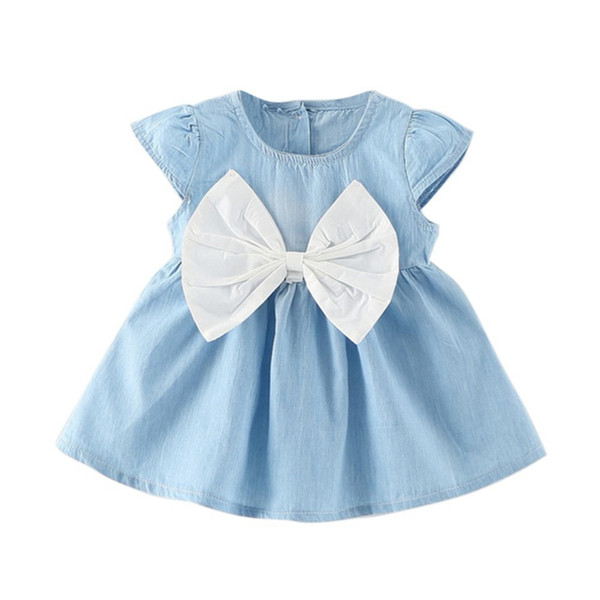 Baby Girls Bow-Knot Design Mini Dress Children Baby Summer Short Sleeve Party Dress Kids Clothes