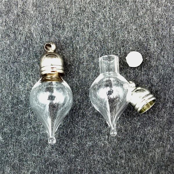 fläschchen 50 stück 27x11mm wassertropfen fläschchen glas anhänger mini wunsch glas flasche halskette anhänger schmuck erkenntnisse