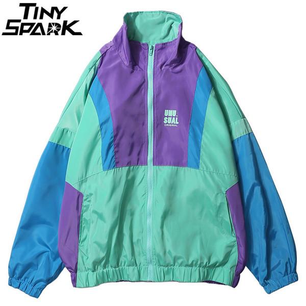 Autumn 2018 Hip Hop Windbreaker Jacket Oversized Mens Harajuku Color Block Jacket Coat Retro Vintage Zip Track Jacket Streetwear D18100802