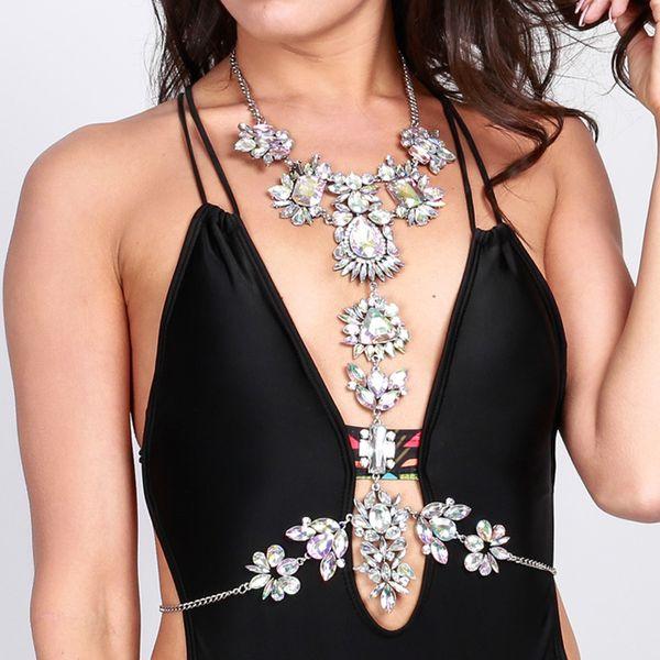 3 Colors Fashion Body Jewelry Unique Rhinestone Beads Body Chain Summer Bikini Bra Accessories Beach Party Costume Jewelry 1 Pc