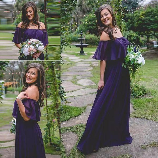 Dark Purple Chiffon Bridesmaid Dresses Off Shoulder Long Maid Of Honor Dress A line Beach Wedding Party Gowns Custom Made Cheap