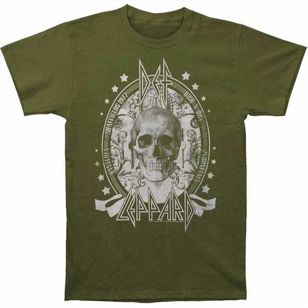 High Quality T Shirt O-Neck Design Short Sleeve Def Leppard Men's Skull Slim Fit T-shirt Size S To 3XL T Shirts For Men