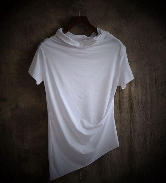Новые Необычные мода Мужская одежда Плюс размер Мужской тонкий нерегулярный воротник с коротким рукавом футболки Мужские повседневные топы Черный, белый