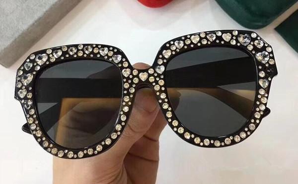 Роскошные 0308 солнцезащитные очки для женщин Алмазный дизайн кошачьи глаза летний стиль прямоугольник полный кадр высокое качество УФ-защиты поставляются с пакетом