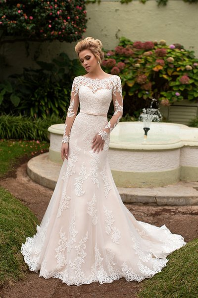 2019 Naviblue Mermaid Wedding Dresses Bateau Neck Lace Appliques Belt Sweep Train Long Sleeve Bridal Gowns Plus Size Country Wedding Dress