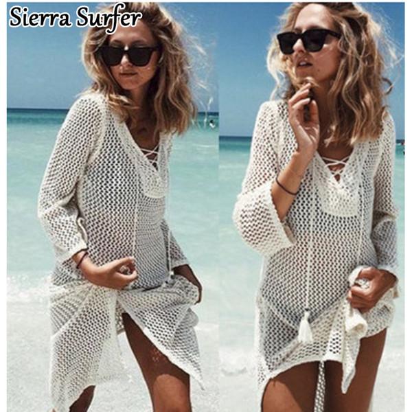 Saida De Praia Summer Beach Wear Dress Tunica Pareos per le donne 2018 Gonna Knitting Hollow Bandage Longa Kaftan Beach Cover Up