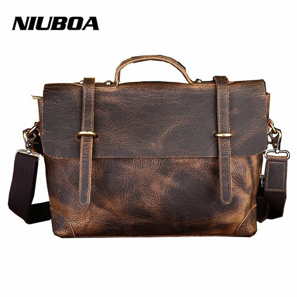 New Leather Bag Retro Crazy Horse Genuine Leather Men Classic Handbag Elephant Pattern Messenger Shoulder Bag Business Briefcase