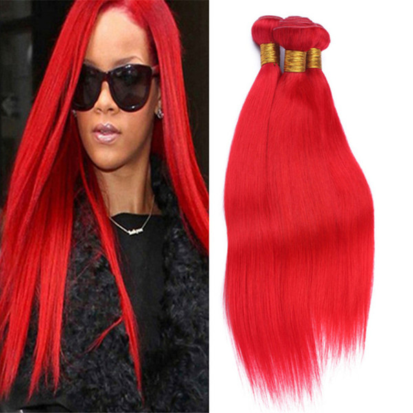9A Grade Malaysian Red Human Hair Weave 3 Bundles Silky Straight Bright Red Color Hair Weft Extensions 3Pcs Lot Mixed Length