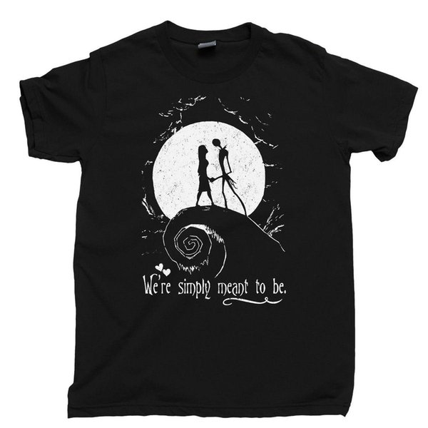 2018 Hot Sale New Men'S T Shirt Skellington Sally T Shirt Simply Meant To Be Nightmare Before Christmas Tee