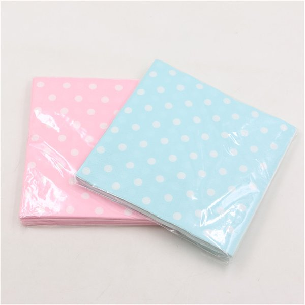 20PCS/Pack Fashion Style Dot Prints Paper Napkin For Home party Kids Boy Girl Birthday Party Tableware Decoration Event Supplies