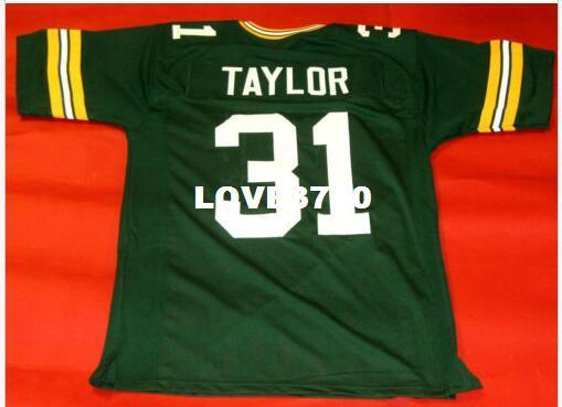 best selling Men CUSTOM #31 JIM TAYLOR GREEN College Jersey size s-4XL or custom any name or number jersey