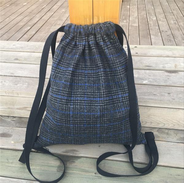 YILE Handmade Cordão De Lã Cinza Azul Tartan Mochila de Viagem Saco de Livro Estudante B817