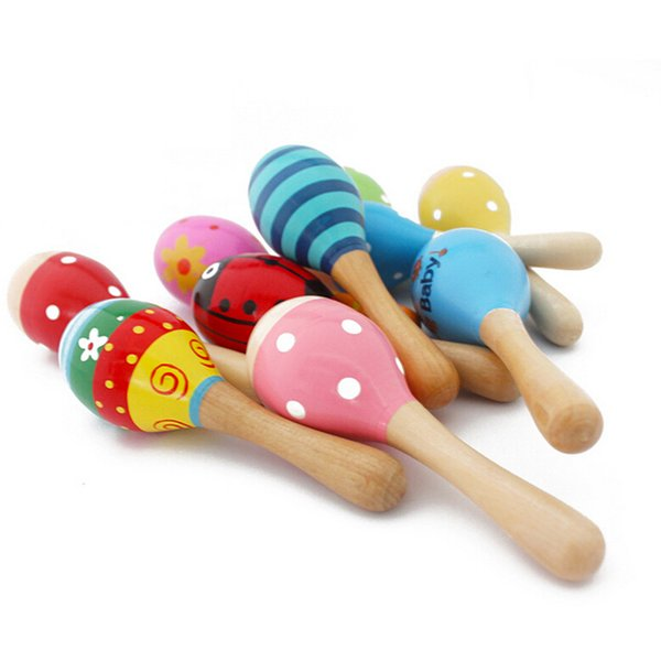 Оптово-1 шт. Красочные деревянные маракасы Детские музыкальные инструменты Погремушка-шейкер Вечеринка для детей Подарочная игрушка