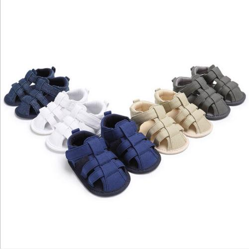 Baby Infant Kids Boys Girls Soft Sole Canvas Summer Crib Shoes Toddler Newborn Sandals Solid Sandals Shoes