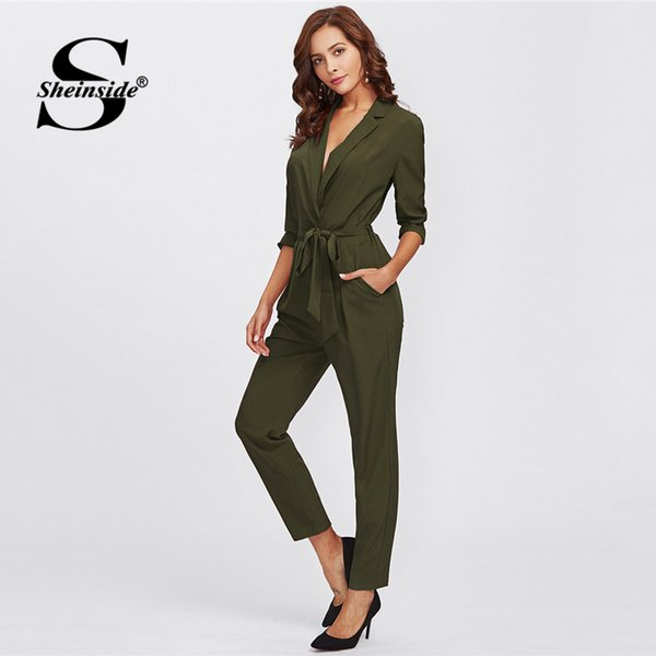 Sheinside Army Green Long Sleeve Workwear Jumpsuit Office Ladies Mid Waist Belted Pocket 2018 Women Autumn Elegant Jumpsuits