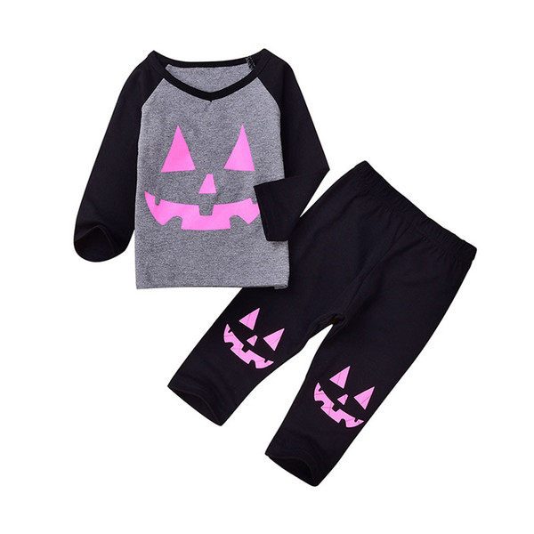 Baby girls Halloween outfits INS pumpkin top+pants 2pcs/set 2018 autumn fashion Kids Clothing sets C4668