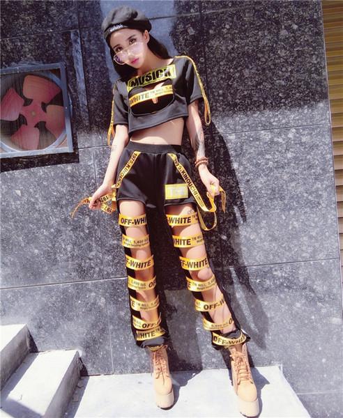 Hip-hop Kostüm Yeni Gece Kulübü Ds Kadın Şarkıcı Bar Seksi Dj Yaka Dans Elbise Hollow Pantolon Bölünmüş Suits