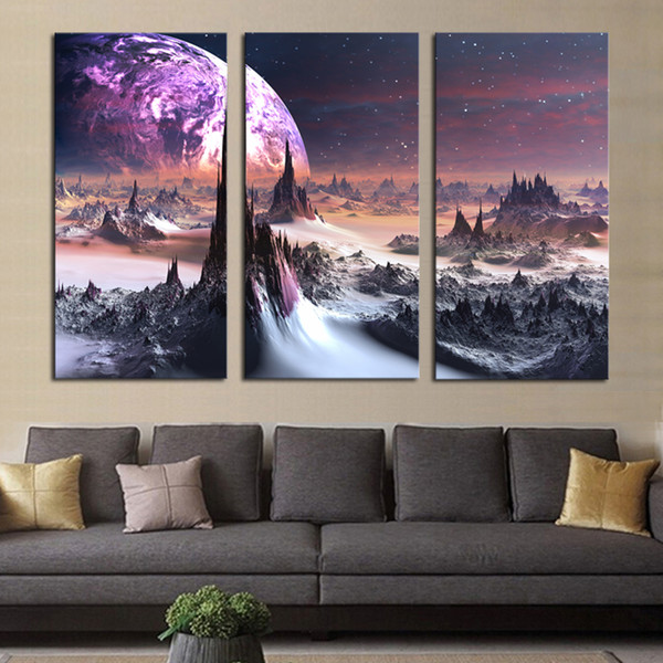 Modular Framework Wall Art Painting 3 Piece Mountain Peak Landscape HD Print Canvas Popular Picture For Living Room Decor Poster