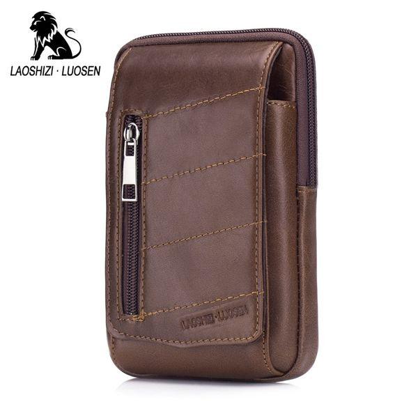 LAOSHIZI LUOSEN Genuine Leather Men Belt Waist Bag Cowhide Retro Casual Phone Bag Fanny Purse Man Waist Pack