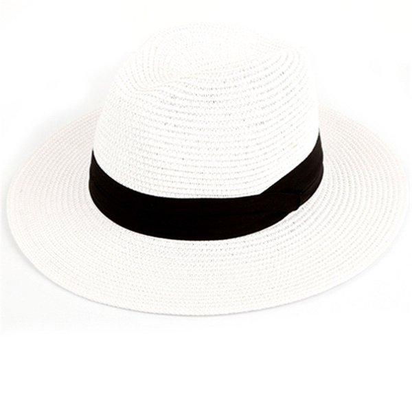 Femmes Lady Hommes Chapeau De Paille Plage Été Large Bord Cap Respirant Plat Top Sunhat B2Cshop JY19