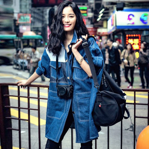 Fashion Casual Loose Denim Trench for Women Full Sleeve Single Breasted Ladies Trench Long Windbreaker Long Streetwear