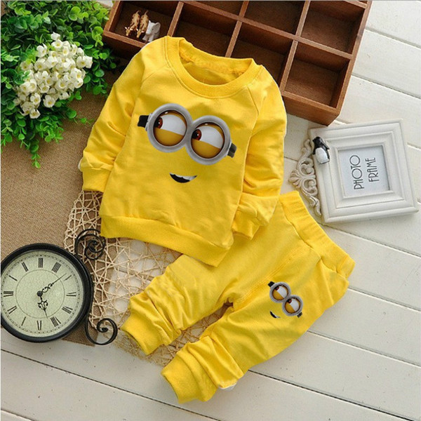 1-2years Baby Boys Clothes Cartoon Casual Kids Minions Suit Infant Girl Long Sleeve Cotton Children Clothes Set T Shirt+Pants 2 Suits