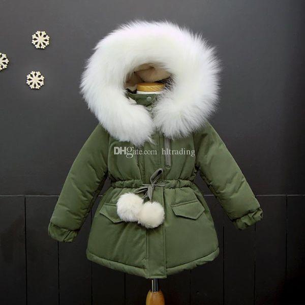 2018 neue Kinder mit Kapuze dicker Mantel Winter Mädchen Langarm Outwear Kinder Pelzkragen Jacke C3297