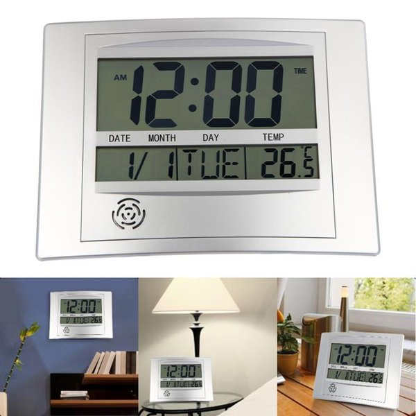 top popular LCD Digital Wall Clock With Thermometer Electronic Temperature Meter Calendar Indoor Desk Digital Wall Clock home decor 2020