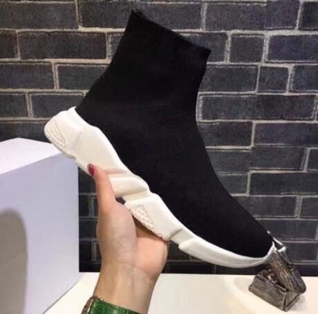 2019 nouveau noir chaussettes chaussures haute coupe en tricot élastique respirant tennis chaussures jeunes hommes et femmes mode casual chaussures de fitness rouge 36-45