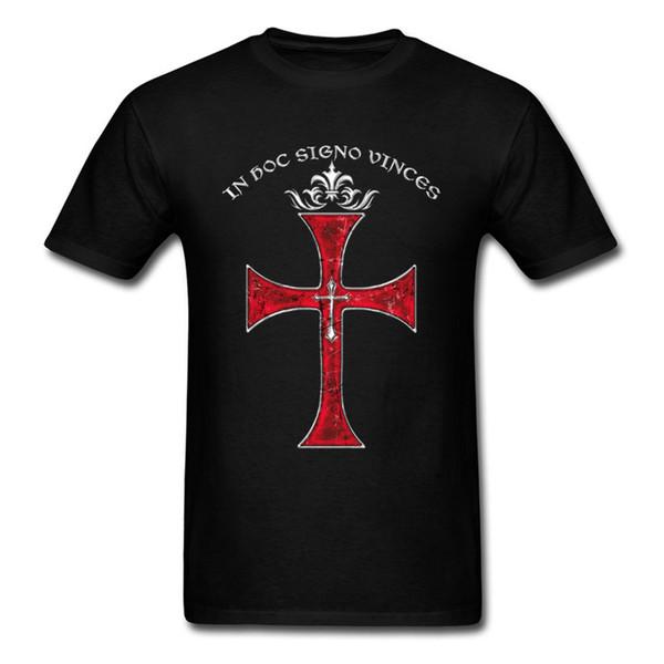 Chegada nova Cavaleiros Templários Cruz Imprimir T-shirt Dos Homens Elegantes Preto Vermelho T Shirt Dos Desenhos Animados