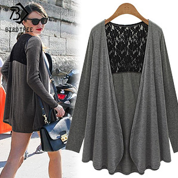 Autumn Womens Tops New Fashion 2017 Spring Casual Knitted V-Neck Sweaters Long Sleeved Lace Stitching Cardigans Hot Sale C7N718A