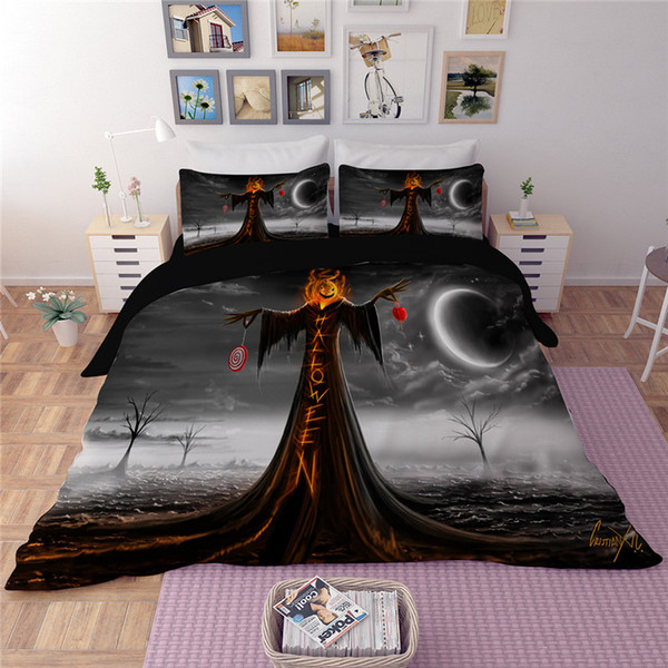 Happy Halloween Night Bedding Set Funny Cartoon Duvet Cover Soft Bedclothes Pillowcase Twin Full Queen King Size Bed Cover 3pcs Customized