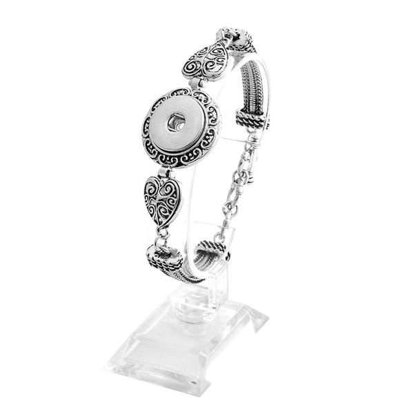 Snap Jewelry Silver 18mm Snap Buttons Bracelet 4 Designs Flowers Carved Vintage Magnetic Snap Bracelets for Women Men Wholesale
