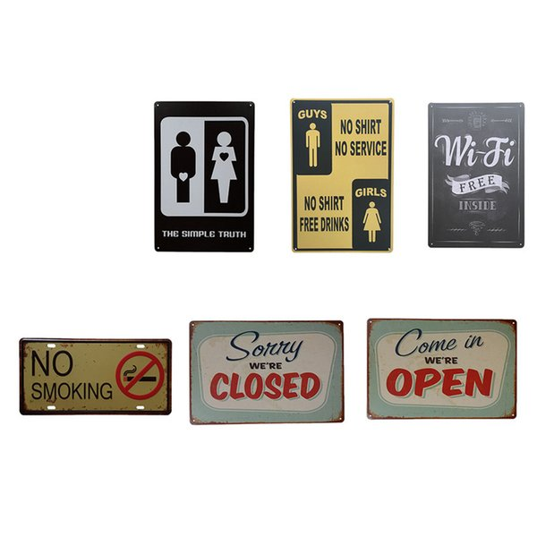 Decorative Metal Sign Plaques Vintage Reminders Metal Tin Signs Poster For Beer Rest Room Toilet Iron Wall Art Living Room Decor