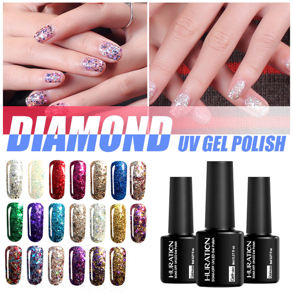 Huration 8ml Brand Semi Permanent Diamond Glitter Gold Blue Colour Nail Gel Polish Soak Off UV Led Lucky Gel Varnish Art Polish