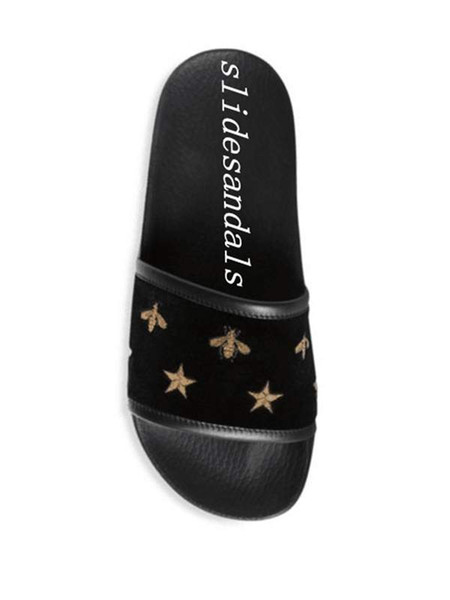 2018 fashion mens and womens bee star embroidery black rubber slides slippers boys girls indoor outdoor causal flip flops size euro 35-45