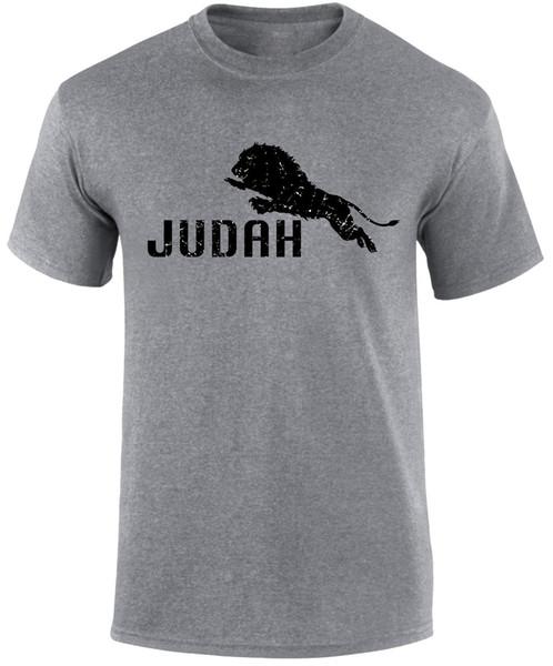 Gesù Il Leone Di Giuda Religioso Gospel Slogan Ebreo Cristiano Uomo T-Shirt Divertente Top Tee New Unisex Divertente Tops Spedizione Gratuita