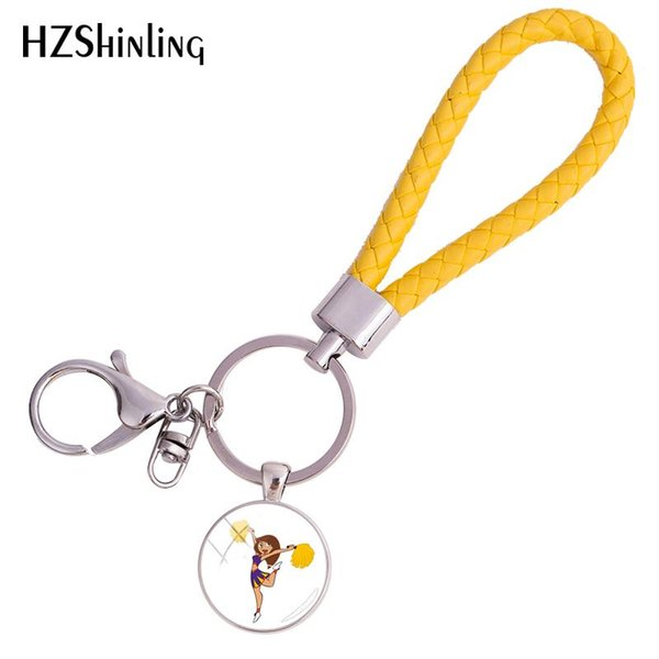 2018 New I Love cheer Leather Rope Keyring Jumping Cheerleaders Team Fish Art Keychains Round Jewelry Glass Dome Keyrings