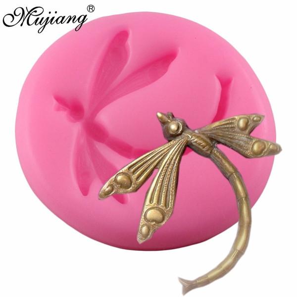 Mujiang Dragonfly Molde De Silicone Fondant Bolo Decoração Ferramentas Doces De Chocolate Moldes Ofício 3D Soap Jóias Pingente de Resina Moldes