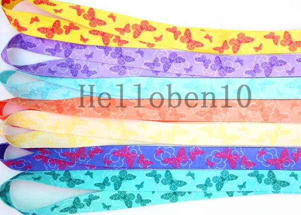 New! 50pieceThe butterfly pattern lanyard 7 girl's love, in the mobile phone / camera is very fashionable