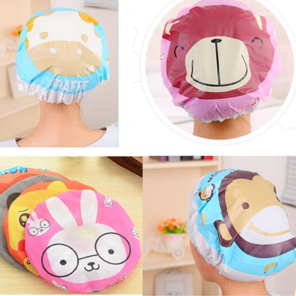 Hot Cartoon Pattern Printing Waterproof PVC Lace Edge Shower Cap Bathing Shampoo Hat Hair Cover Protector - Random Delivery