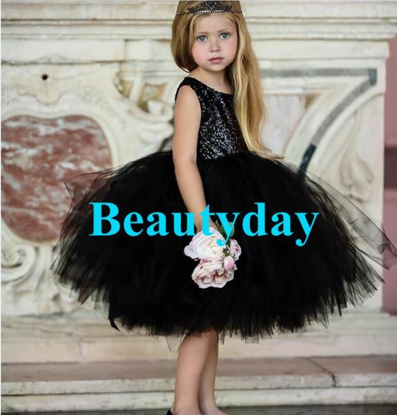 Pageant robes de petite fille pour robes robes 2019 Toddler Enfants robe de bal Thé-Longueur Noir Moyen-Orient Fleur Fille
