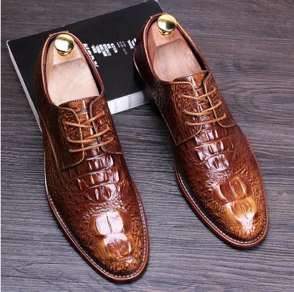 New Fashion Casual Mens Dress Shoes Genuine Leather Crocodile Lace-up Italian Stylist Flat Formal Oxfords Wedding shoe 1h47