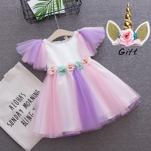flower girl dress toddler girls Unicorn dress baby wedding rainbow colors tulle dress with unicorn headband lovely kids for unicorn party