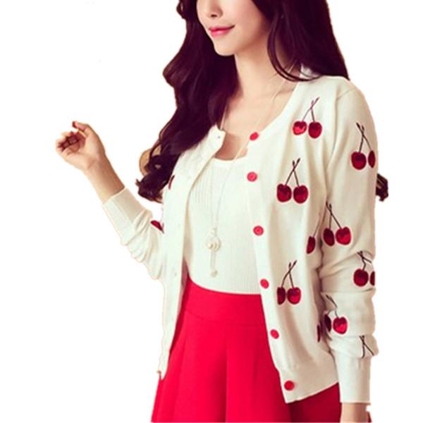Clobee Autumn spring women Sweater cherry Embroidery Pattern Cardigan lady jacket coat Long Sleeve Short Knitting Cardigan White