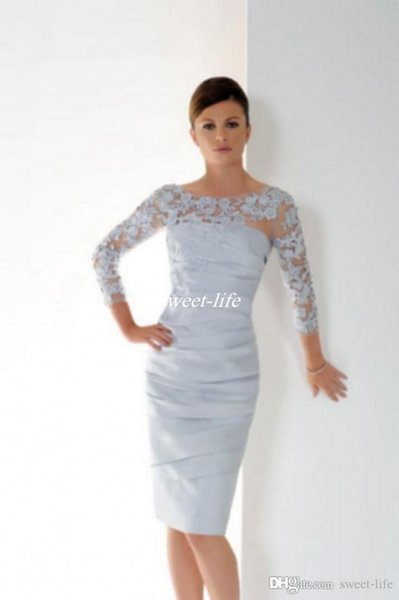 top popular 2019 Graceful Silver Short Mother Of The Bride Dresses With 3 4 Sleeves Lace Appliques Pleats Plus Size Knee Length Women Evening Dresses 2019
